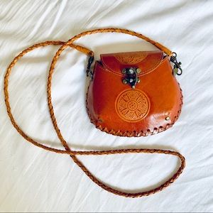 Vintage tan leather crossbody belt bag fanny pack